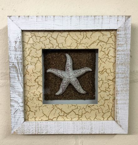 Starfish In White Wash Distressed Wooden Frame Nautical Wall Decor
